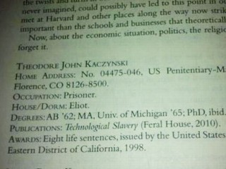 "PHOTO: In this Twitter picture of the Harvard Review, Ted Kaczynski brags that he has been ""awarded"" eight life sentences."